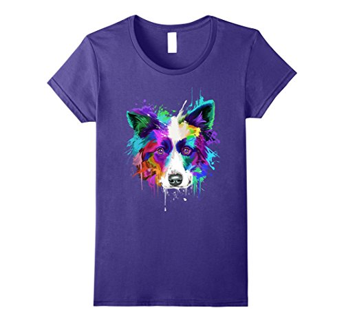 Womens Splash Art Border Collie T-Shirt | Border Collie Owners Gift Large (Large Collie)