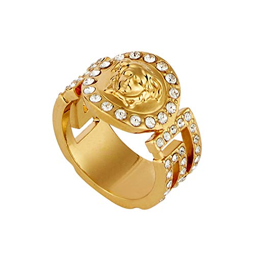 Versace Unisex Icon Medusa Crystal Golden Tone Metallic Ring Size 23