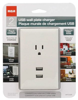 Audiovox WP2UWF Wall Plate, 2 USBs + Standard Outlet, Plug-In, White