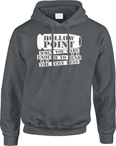 Blittzen Mens Hoodie Hollow Point When You Care Enough, 2XL, - Points Grey Hollow