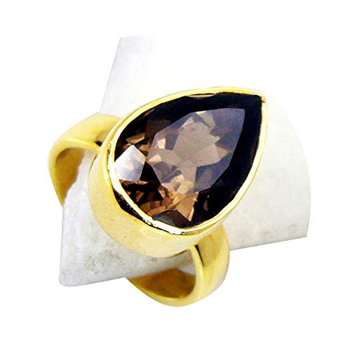 Jewelryonclick Natural Brown Smoky Quartz Gold Plated Rings for Women Oval Shape Bezel Style in Size 4-14 (Quartz Smoky Faceted Ring Oval)