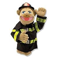 Melissa & Doug Firefighter Puppet con barra de madera desmontable para gestos animados