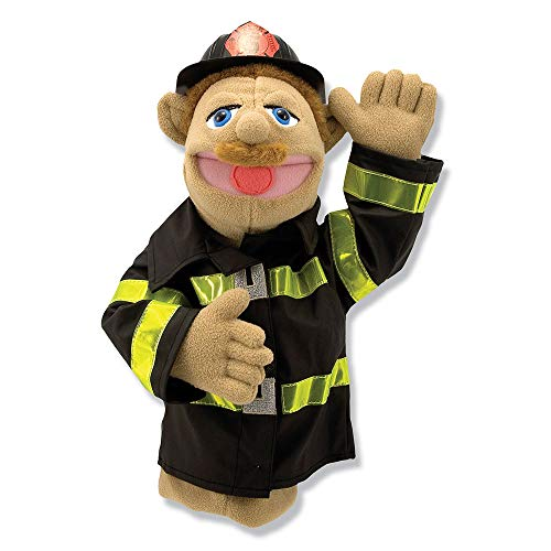 "Melissa & Doug Firefighter Puppet with Detachable Wooden Rod, Puppets & Puppet Theaters, Animated Gestures, Inspires Creativity, 15"""" H x 9"""" W x 4"""" L"