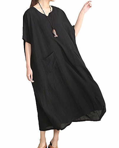 Lanisen Women#039s Casual Loose Summer Cotton Linen Long Dress with Two Pockets Black 2XL