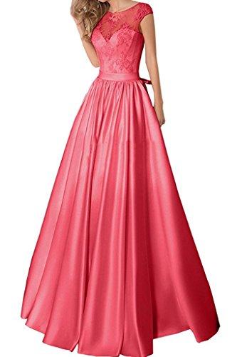 Abendkleider La Braut Elegant Linie Promkleider Rock A Satin Spitze Rosa Lang Abschlussballkleider Wassermelon Marie 5rHqxCwrTY