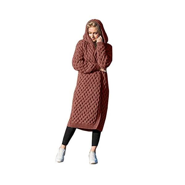Slouchy Camel Open Front Hooded Coat