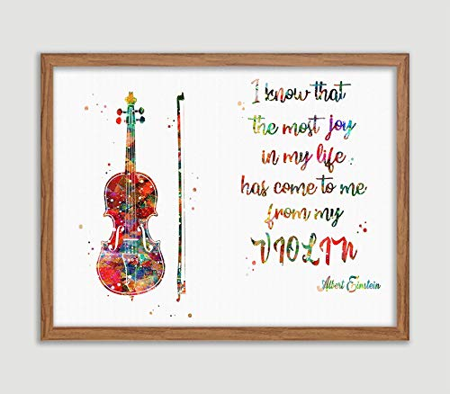 Violin Quote by Albert Einstein Watercolor Poster Orchestral Instruments Print Music Wall Decor Violin Player Wall Art Musical Instrument Room Decor Music Studio Decor Great Gift for Violinist
