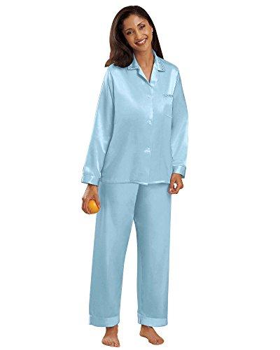 Brushed Back Satin Pajamas - National Brushed Back Satin Pajamas, Blue, Large - Misses, Womens