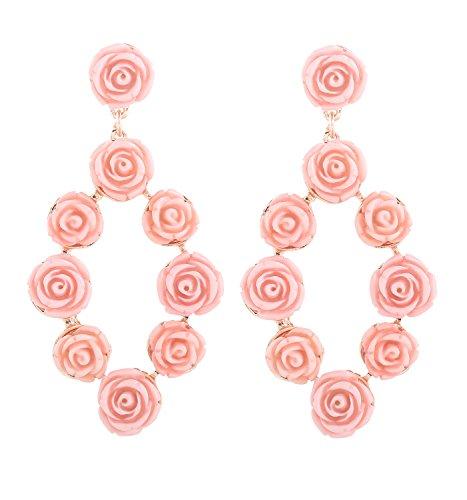 ELEARD Flower Earrings Braided Sequin Dangle Earrings Handmade Floral Drop Earrings for Women (resin rose pink)