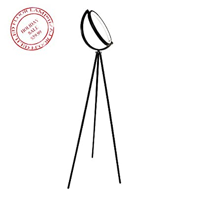 Torchiere LED Floor Lamp - Single Eclipse Ring of LED Light Brings Sci-Fi Ambiance to Contemporary Spaces - Tripod Standing Lamp by KAIYAO for Living Room, Bedrooms, Offices