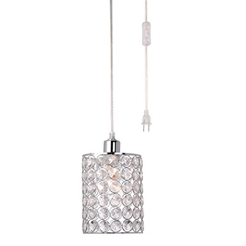 Globe Electric Angelica 1-Light Cylindrical Plug-In Pendant, Chrome Finish, Caged Crystal Shade, Clear 15' Cord, In-Line On/Off Rocker Switch, 65142