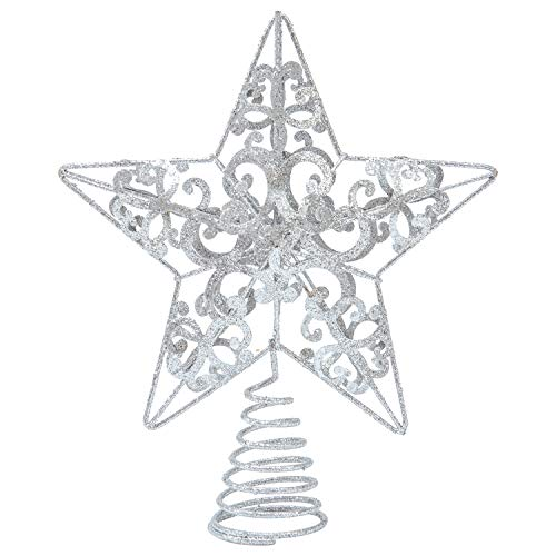 Aneco 10 Inches Metal Glittered Christmas Tree Topper Star Treetop Decoration for Christmas Home Decor