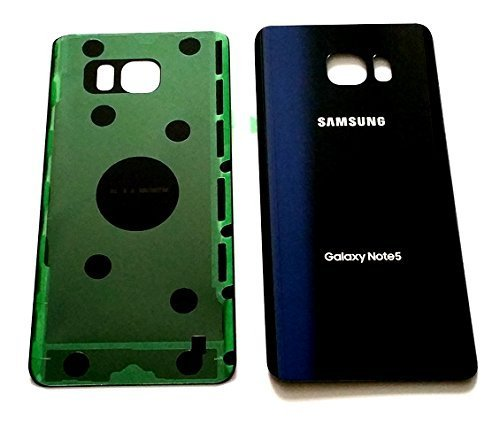 New OEM Battery Back Cover Glass Panel with Adhesive Preinstalled For Samsung Galaxy Note 5 N920 W/O IMEI ~ Black Sapphire ~ USA