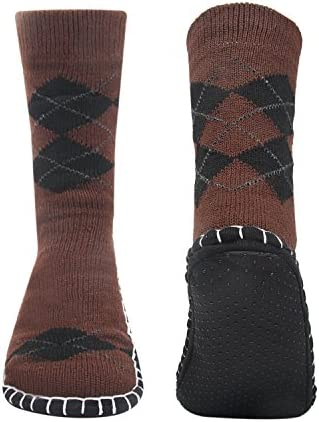 Vihir ルームソックス メンズ靴下 室内履き ルームシューズ 滑り止め加工 自宅仕事用 ニット 暖かい もこもこ 寒気防止 両足温める 柔軟 編み物 24-28cm