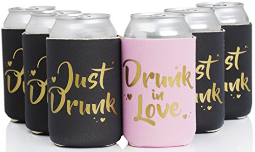 Drunk in Love & Just Drunk Bachlorette Party Drink Coolers - 11 pcs set by ASUSA - Bridal Showers & Bachlorette Parties Can Sleeve, Party Favor Beverage Insulators, Bridesmaid Gifts