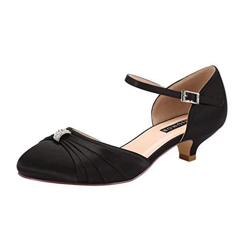 - ERIJUNOR E0713B Women Comfort Low Kitten Heel Buckle Ankle Strap Satin Evening Prom Bridal Wedding Shoes Black Size 9