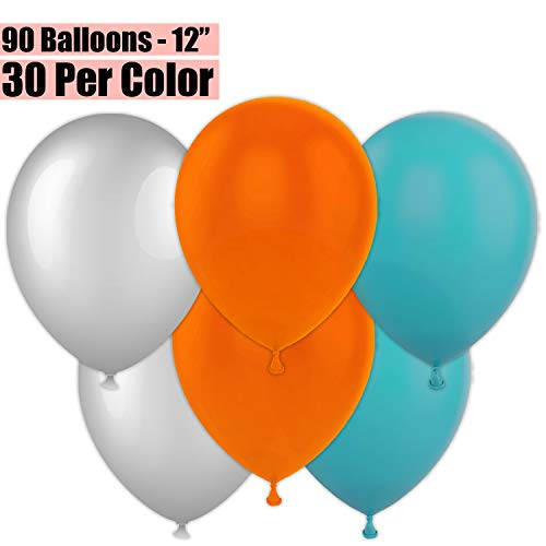 12 Inch Party Balloons, 90 Count - Metallic Silver + Orange + Teal - 30 Per Color. Helium Quality Bulk Latex Balloons In 3 Assorted Colors - For Birthdays, Holidays, - Metallic Balloon Celebrations