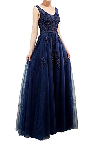 Prom tuell de Fiesta Tinta ivyd noche largo Elegante Punta Vestido línea applikation Mujer a de para vestido Azul ressing vestido FH4q8HWv