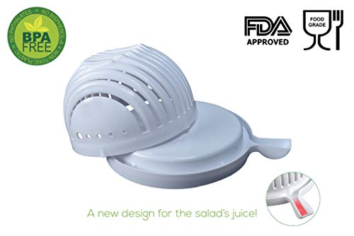 The Original EZ SALAD CUTTING BOWL   Quickly cuts vegetables, fruits, chicken & cheese   No cutting board needed   Uses as a strainer   salad chopper & salad cutter bowl by The Original Choice