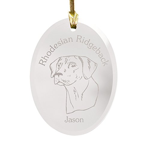 GiftsForYouNow Dog Breed Personalized Glass Christmas Ornament, Rhodesian Ridgeback ()