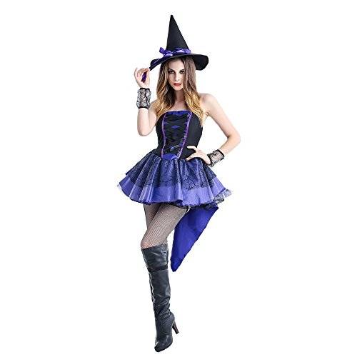 [ZNFQC Women Purple Blue Witch Halloween Costumes Dovetail Skirt Uniform Plus Size (S, Royal Purple)] (Funky Punk Bones Adult Costumes)