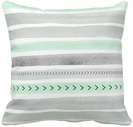 Decorative Pillow Cover Mint Green Gray Watercolour Stripes Arrows Accent  Pillows for Sofa