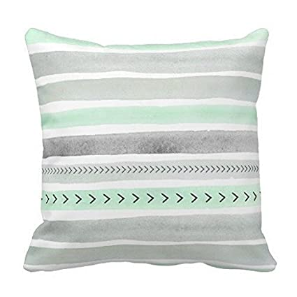 Amazoncom Decorative Pillow Cover Mint Green Gray Watercolour