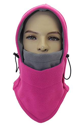 Lenikis Winter Versatile Neck Warm Fleece Ski Face Mask Balaclavas Hat Pink H4545C6