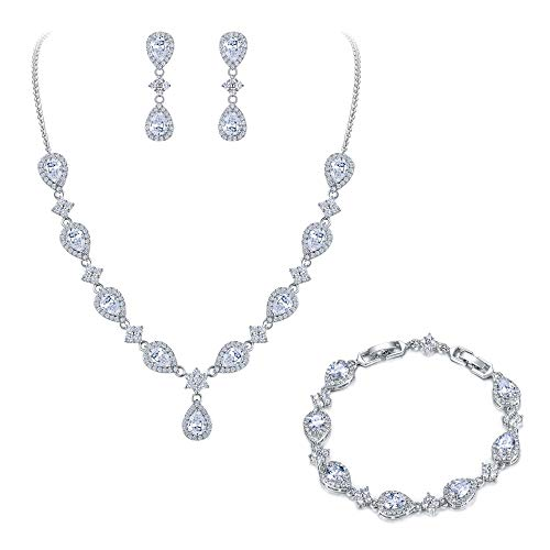 EleQueen Women's Silver-Tone Cubic Zirconia Teardrop Flower Bridal V-Necklace Set Tennis Bracelet Dangle Earrings Clear