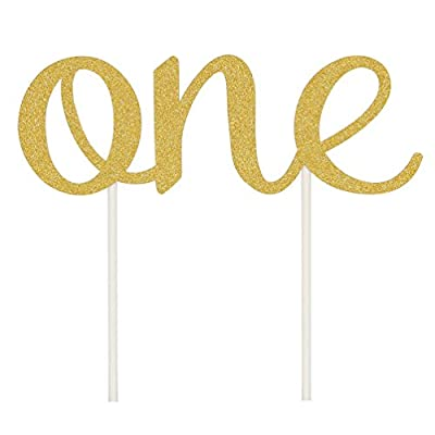 INNORU(TM) 1st First Birthday One Cake Topper Decoration Single Sided Gold Glitter