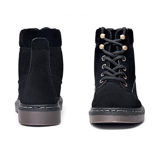 CUSTOME Casual Cotton Women's Shoes Boots Black Ladies Lace Winter Boots Suede Fur up Martin Faux Ankle qqTrF