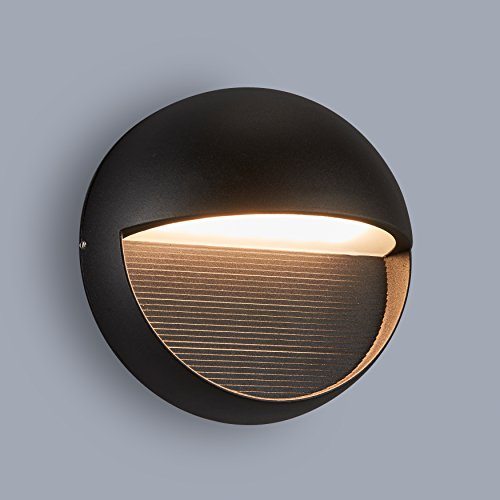 wall mount Light Outdoor indoor wall sconce, ADA compliant. UL Listed. Textured Black (Round wall Light) ()