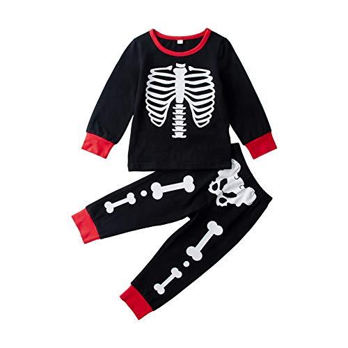 Uideazone Girls Boys Kids Cotton Halloween Pajamas Skeleton Sleepwears Sets