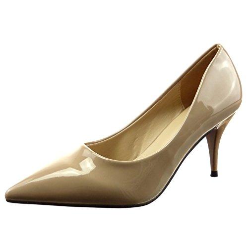 Sopily - Zapatillas de Moda Tacón escarpín stiletto Tobillo mujer brillantes patentes Talón Tacón de aguja alto 7.5 CM - Beige