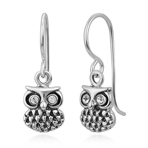 925 Oxidized Sterling Silver White CZ Eyes Detailed Vintage Owl Bird Dangle Hook Earrings 0.75