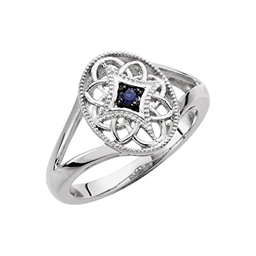 Sterling Silver Blue Sapphire Size 6 Polished Sapphire Ring ()