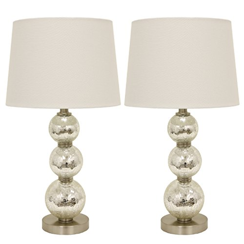 Double Glass Table Lamp - Décor Therapy MP1063 Table Lamp, Mercury Silver