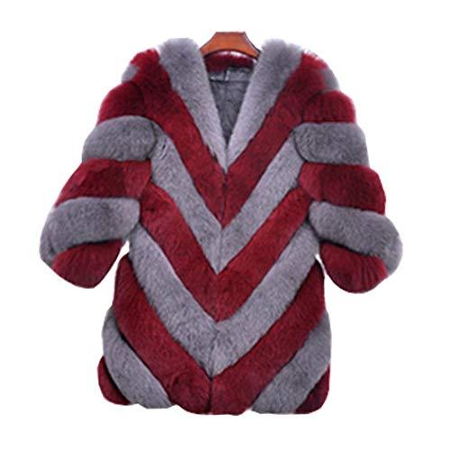 Rouge Elé Art Femme Longues Outerwear Warm Fourrure Manches Hiver Manteau De cRwgW4qUgv