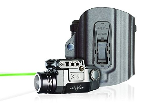 Viridian X5L Green Laser Sight and Tac Light, Universal Rail Mount, ECR Instant-On, Multiple Light Modes with TacLoc Holster (Outdoor Pulsing Beam Laser)