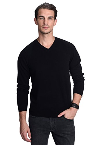 State Cashmere Men's 100% Pure Cashmere Essential Sweater V-Neck Long Sleeve Pullover (Medium, Black)