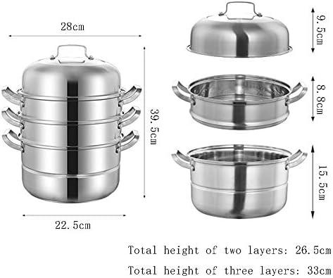 Grand cuiseur vapeur multicouche en acier inoxydable 304 pour cuisinière à gaz/induction 28–32 cm stylename 4-28cm couleur