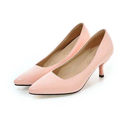 Tacco Punta Ballet VogueZone009 A Rosa Medio di Donna Scarpe Tirare Pelle Flats Maiale 11w6fRIq