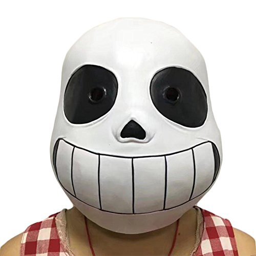 Sans Undertale Costume (Mardi Gras Masks Halloween Party Latex Jaffaite Plastic Funny Scary Haunted House Best Face Mask Headgear Decorations Moive Film Game Undertale Masquerade Masks)