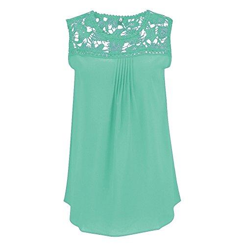 Camisas Blusas Camisetas Tops sin Mangas Encaje Elegante y Confortable Menta Verde