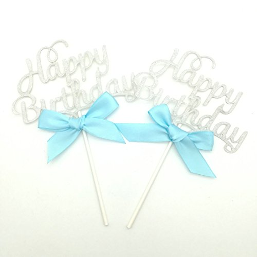 Paity 4PCS silver happy birthday Cupcake Toppers Birthday Party Decorations Kids Cake Topper Happy Birthday Cupcake Toppers Birthday Party SupplY