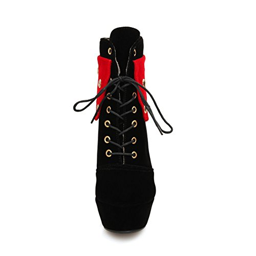 DecoStain Women's Retro Lace Up Two Toned Zipper Booties 1red QPGLE