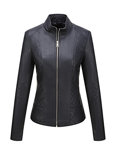 Bellivera Women's Faux Leather Casual Short Jacket,Moto Coat with 2 Zipper Pockets for Spring and Autumn