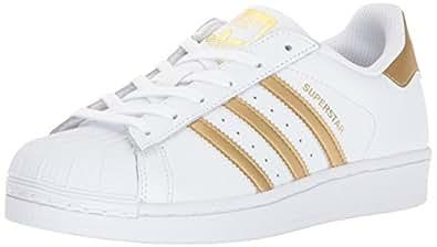 adidas Originals Kids' Superstar J Sneaker, White/Gold Metallic/Blue, 4 M US Big Kid