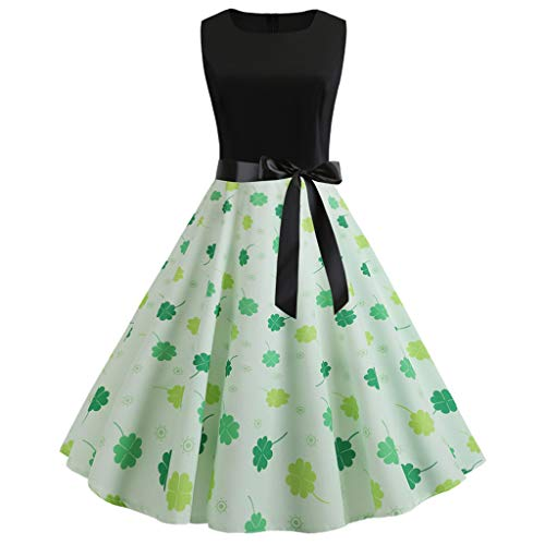 iDWZA St. Patrick's Day Women Vintage 1950s Retro Shamrock Sleeveless Prom Swing Dress(Green,L)