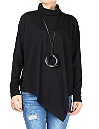 Mordenmiss Women's Turtleneck Asymmetry Hem Basic T-Shirt XS-XL